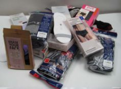Bag of ladies and gents underwear by Calvin Klein, Champion, etc includes socks