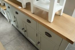 Large light blue painted and oak top sideboard with 3 large drawers and 4 cupboards, 175cm wide (A,