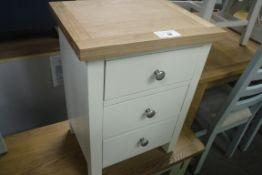 Cream painted oak top 3 drawer bedside unit, 42cm wide (B,1)