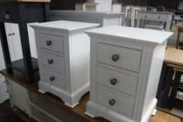 Pair of white 3 drawer bedside cabinets, 40cm wide (A,10)