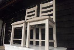 Pair of grey ladder back dining chairs (B,5)