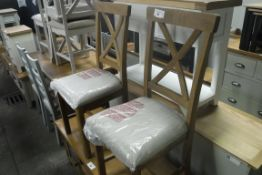 Pair of oak cross back dining chairs (B,5)