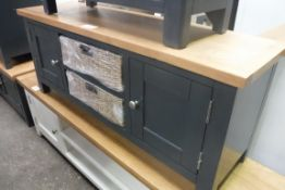 Blue painted oak top low cabinet with 2 shelves, 2 seagrass baskets and 2 cupboards, 120cm wide (A,