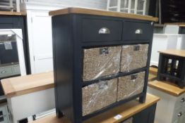 Blue painted oak top unit with 2 drawers and 4 seagrass baskets (A,10)