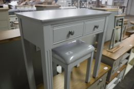 Light blue painted dressing table with 2 drawers, 80cm wide (B)