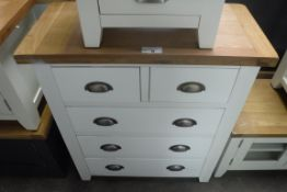 White painted oak top chest of 5 drawers, 85cm wide (A,54)