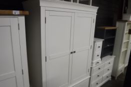 Large white double door wardrobe with 4 drawers, 120cm wide