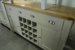 Grey painted oak top sideboard with wine rack, 2 drawers and 2 single cupboards, 140cm wide (B,3)