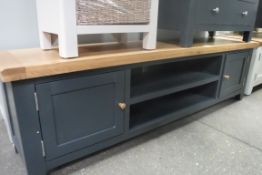 Blue painted oak top large TV unit with 2 shelves and 2 cupboards, 180cm wide (A,52)