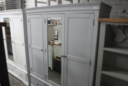 Large blue painted triple wardrobe with mirrored centre door and 3 drawers under, 170cm wide (B,6)