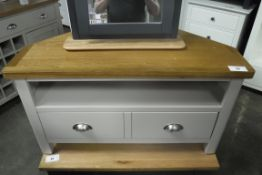 Grey painted and oak top corner TV unit with single drawer and single shelf, 90cm wide (B)
