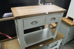 Cream painted oak top 2 drawer side table, 85cm wide (A)