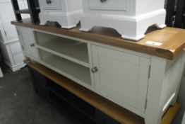 Cream painted oak top large TV unit with 2 shelves and 2 cupboards, 180cm wide (A)
