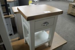 White painted oak top single drawer bedside table, 40cm wide (A,10)
