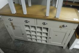 Grey painted oak top sideboard with wine rack, 2 drawers and 2 single door cupboards, 140cm wide (