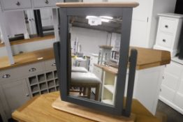 Blue painted and oak dressing table mirror (B,20)
