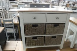 Cream painted oak top unit with 2 drawers and 4 seagrass baskets, 80cm wide (A,52)
