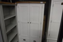 White painted oak top 2 door kitchen larder lined with storage and 3 drawers, 100cm wide (B,5)