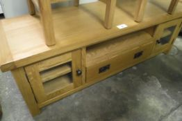 Oak TV unit with single shelf, single drawer and 2 glazed single door cupboards, 150cm wide (B,1)