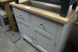 Grey painted oak top small sideboard with 2 drawers and double door cupboard under, 90cm wide (B,20)