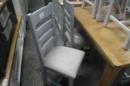40 light blue ladder back dining chairs (B,4)