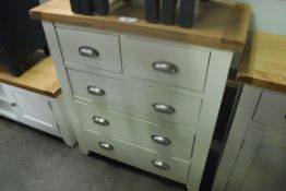 Grey painted oak top chest of 5 drawers, 85cm wide (A)