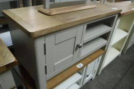 Grey painted oak top small TV unit with 2 shelves and single door cupboard, 90cm wide (B,9)