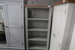 Grey painted oak top open front bookcase, 80cm wide (B,5)