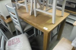 Oak extending dining table with extra leaf, 120cm long (B)