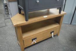 Oak corner TV unit with shelf and single drawer under, 100cm wide