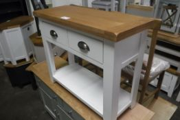 White painted oak top low level table with 2 drawers and shelf under, 85cm wide (B,3)