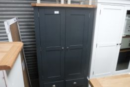 Blue painted oak top 2 door kitchen larder lined with storage and 3 drawers under, 100cm wide (B,20)