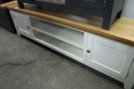 White painted oak top large TV unit with 2 shelves and 2 cupboards, 180cm wide (A,54)