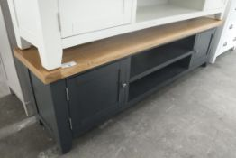 Blue painted oak top large TV unit with 2 shelves and 2 cupboards, 180cm wide (A)