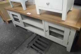 Grey painted oak top TV unit with 2 shelves and 2 glazed single cupboards, 140cm wide (B,1)