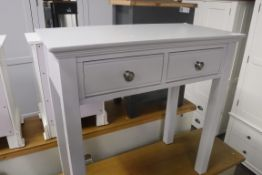 Light blue painted dressing table with 2 drawers, 80cm wide (B,10)