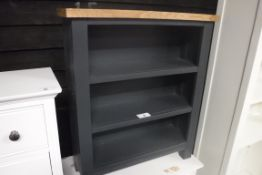 Small blue painted oak top 3 drawer bookcase, 70cm wide (B,1)