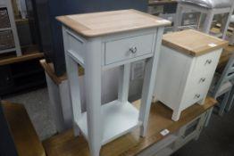 Light blue and oak top single drawer unit with shelf under, 43cm wide (B,9)