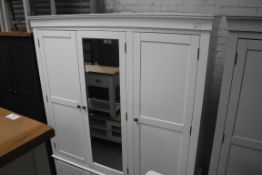 Large white painted triple wardrobe with mirrored centre door and 3 drawers under, 170cm wide (B,6)