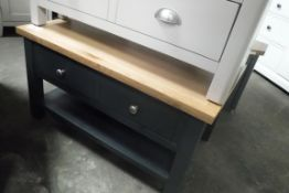 Blue painted oak top coffee table with drawers and shelf under (B,9)