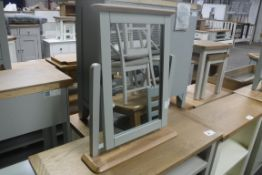 Grey painted and oak dressing table mirror (B,1)