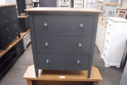 Blue painted oak top chest of 3 drawers, 75cm wide (B,20)
