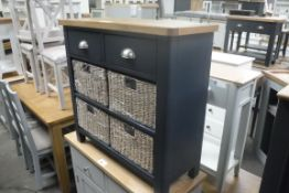 Blue painted oak top 2 drawer unit with 4 seagrass baskets, 80cm wide (A)
