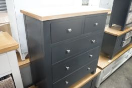 Blue painted oak top chest of 5 drawers, 85cm wide (B,4)