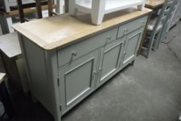 Grey painted oak top sideboard with 2 large drawers and 3 single cupboards, 140cm wide (B,5)