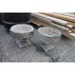 2 stone planters