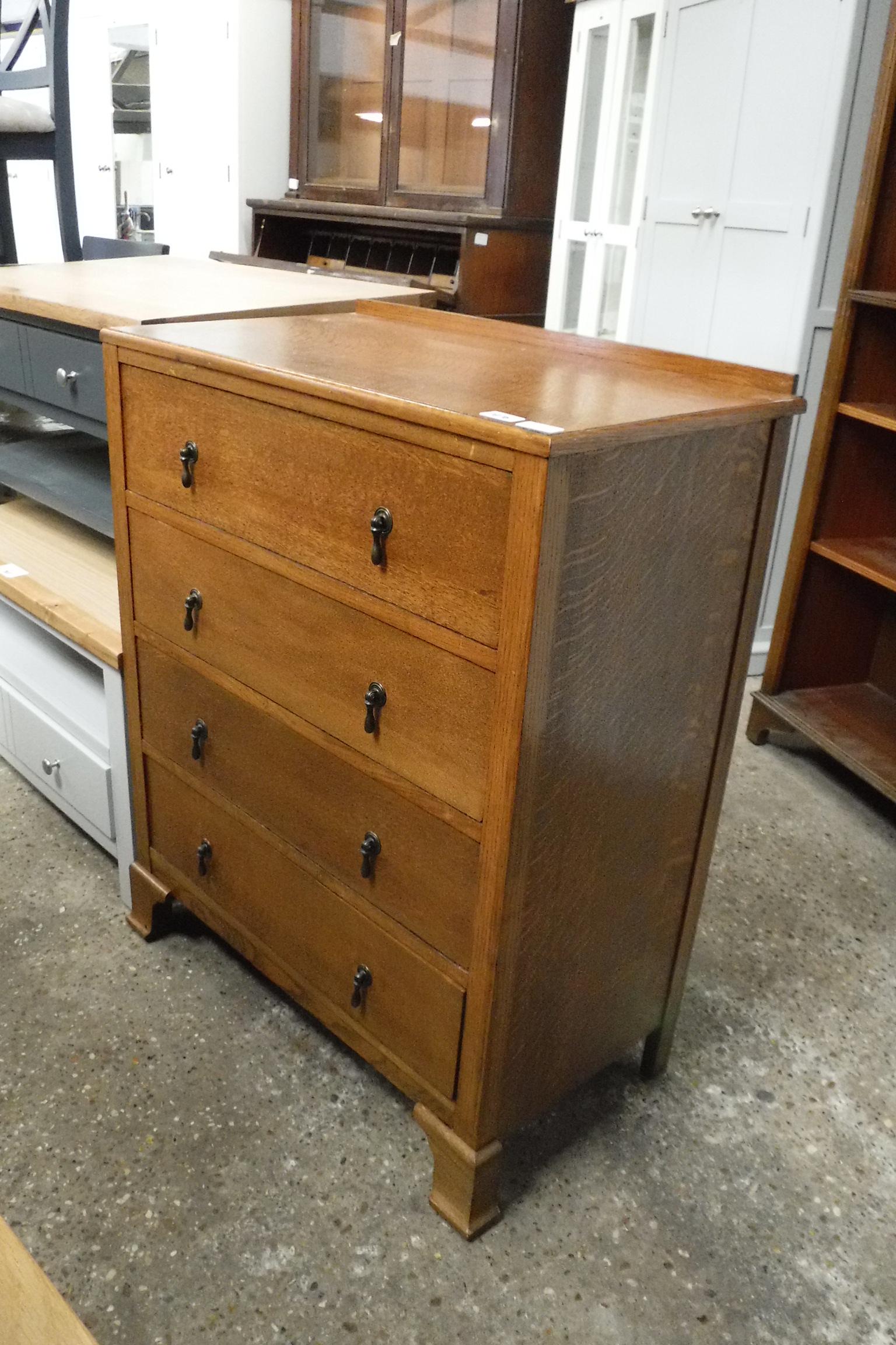 (2044) Dark oak chest of 4 drawers on bracket feet