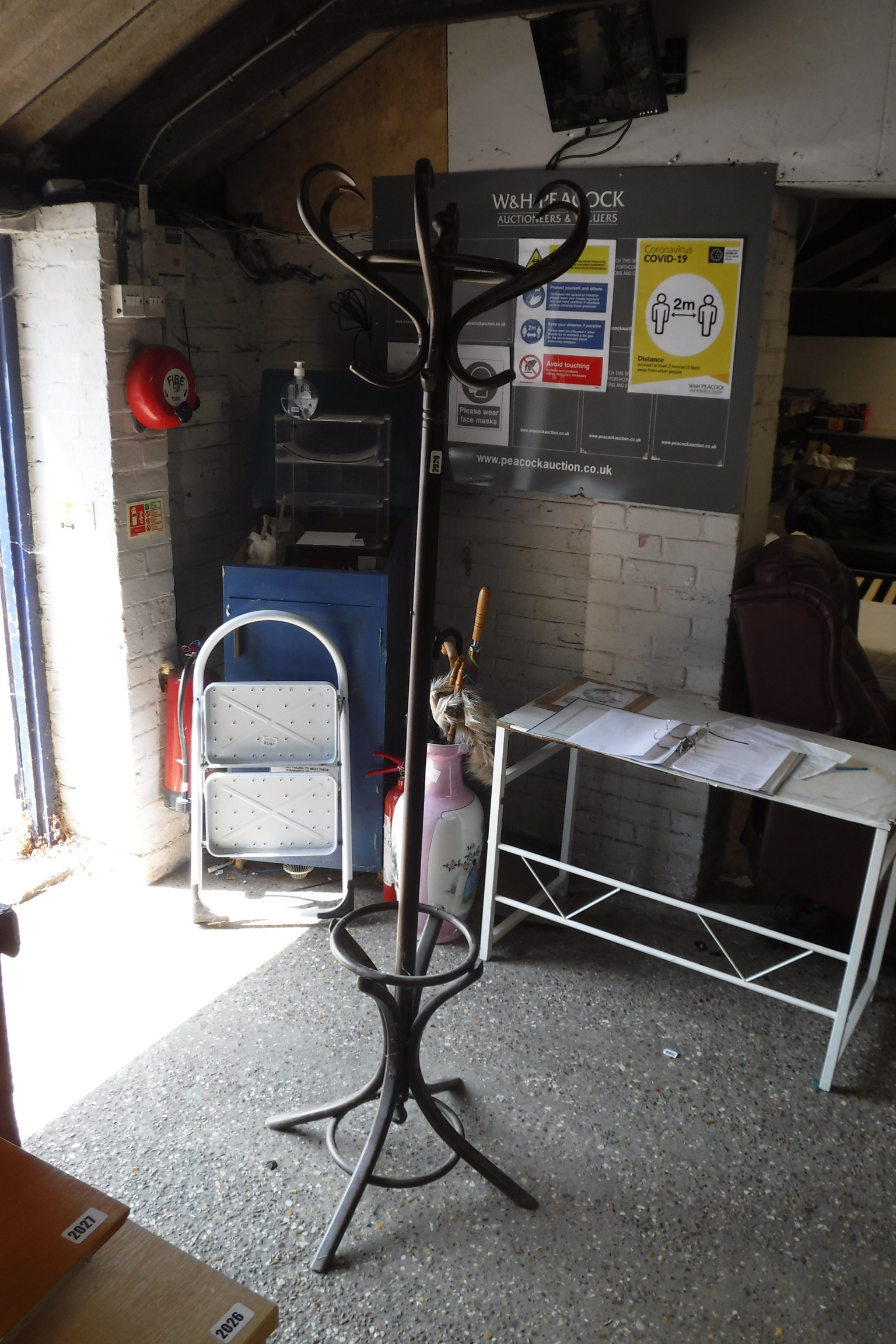 Bent wood free standing hat and coat stand