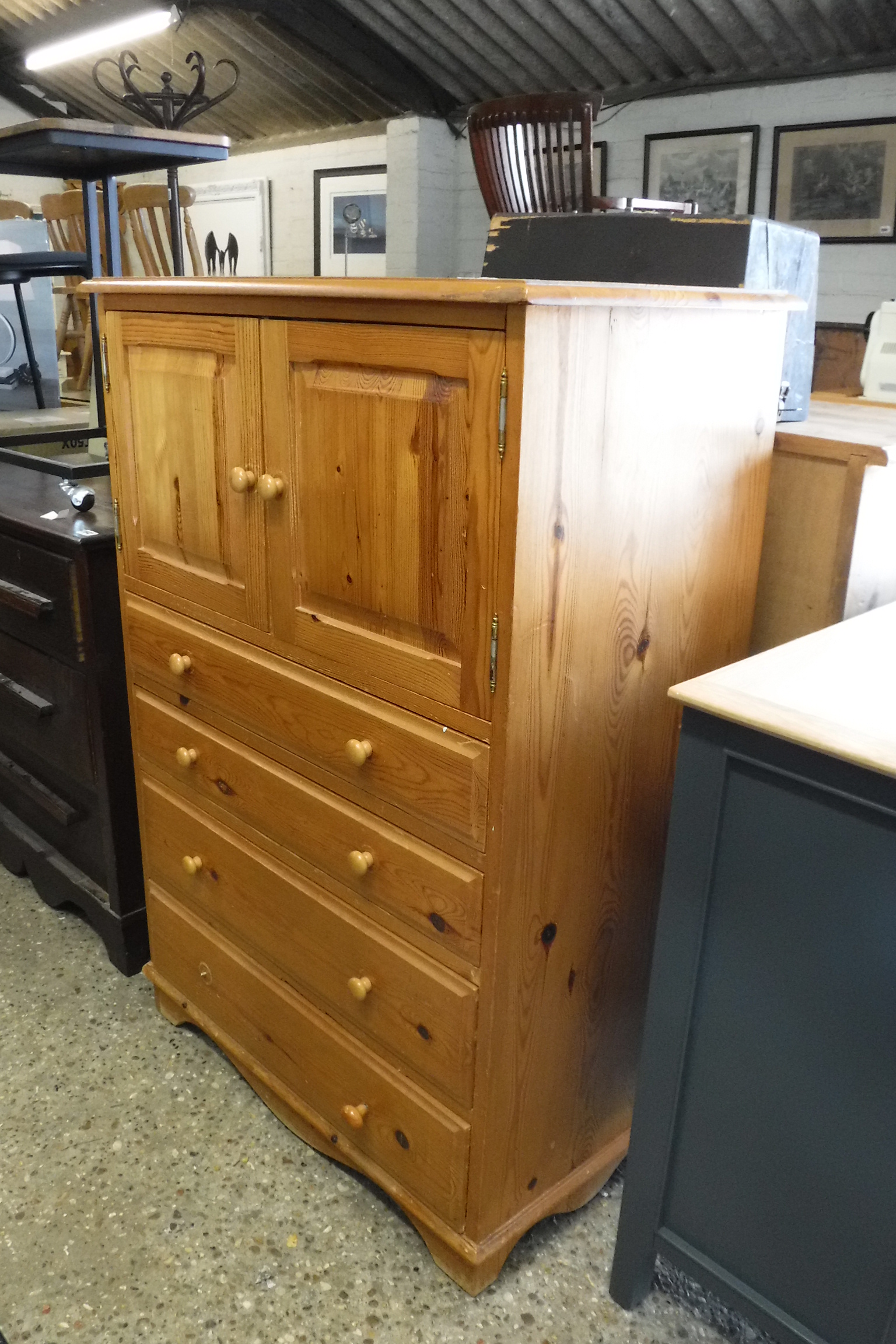 Pine cabinet with 4 drawers