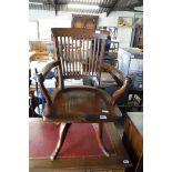 Wooden swivel office chair on 4 star base